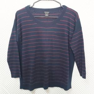 Club Monaco Navy & Maroon Striped Sweater